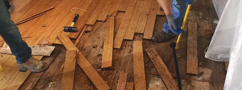 Flooded Wood Floor Restoration in Springwood, Woodbridge